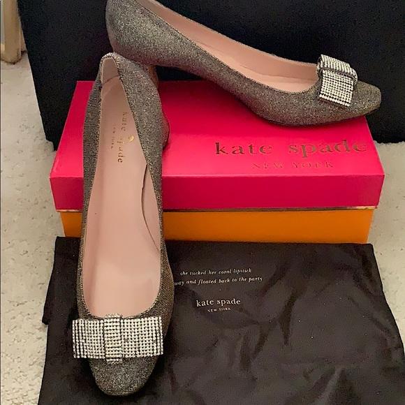 Kate Spade Dina Crystal Bow Block Heels